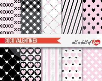 Black Pink VALENTINES Digital Background Patterns Heart Scrapbook Paper 12x12 Valentines Paper coco chanel print