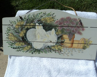 Lovely pastel wooden wall hanging/leather thong/ rabbits and plantings/ Easter/Spring