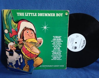 """RARE, Vintage, The Peppermint Kandy Kids - """"Little Drummer Boy"""", Holiday Vinyl LP, Record Album, Traditional Christmas, Holiday, Peter Pan"""