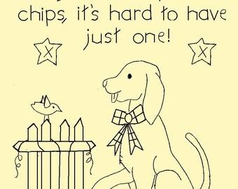 "Primitive Stitchery E-Pattern, June Dog ""Dogs are like potato chips, it's hard to have just one!"