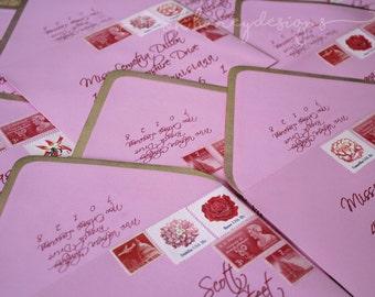 Painted Metallic Gold Edge Pink Envelopes