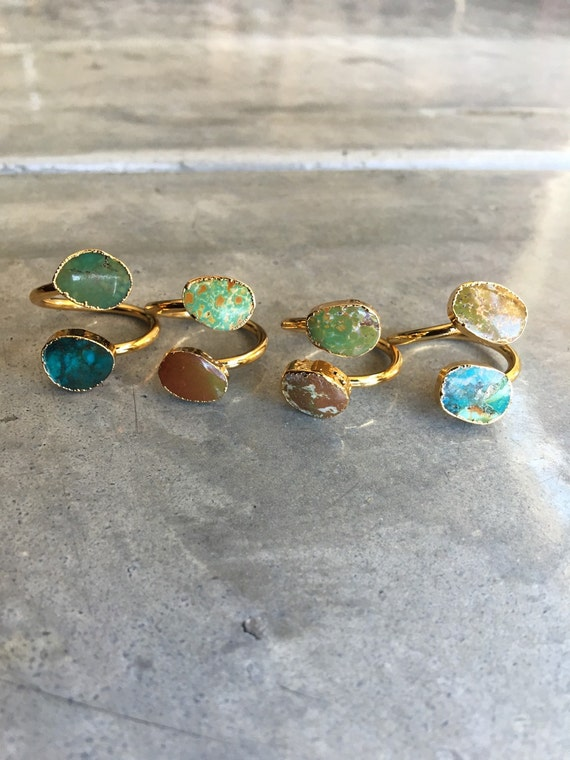 Jasper and turquoise adjustable ring