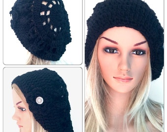 BUY1GET1HALFPrice Womens/teens hand crocheted/knitted oversized slouch beanie beret hat,plain black flower,circle mandala,button,dread.