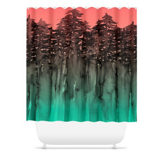 Forest through the trees green coral peach black shower Nature inspired shower curtains