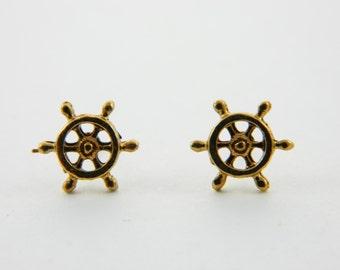 Tiny Ship Wheel Earrings