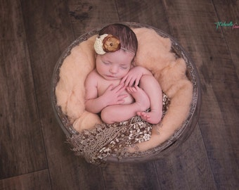 Cream and Brown Baby Headbands, Flower Headband, Newborn Headband, Baby Girl Headband, Photography Prop