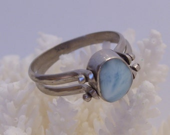 Reversible Larimar and Amber Sterling Silver Double Band Ring Size 8 1/2