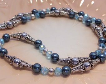 Blue Pearl, Crystal and Silver Beaded Necklace 24 Inches Long Lobster Claw Clasp