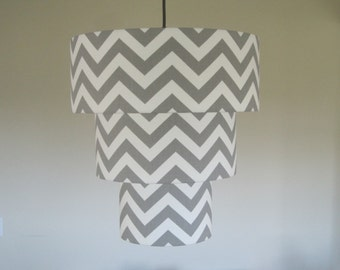 Custom Chevron Lamp Shade Drum Lampshade 3 Tiered Pendant - You Choose Fabrics