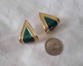 Vintage Retro Pierced Earrings-Enamel Drop Loops-R3695