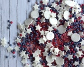 American Hero Sprinkles stars,quins,red white, and blue. Pearls, sanding sugar, Fourth of July, patriotic in a glass 2 oz bail jar