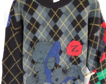 80s Jean-Charles de CASTELBAJAC ICEBERG Linus and Snoopy wool novelty sweater/ harlequin  diamonds: size IT 48= xl