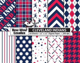 10 Cleveland Indians Digital Papers for Scrapbooking, Digital Paper, Digital Scrapbook Paper, Printable Sheets, Baseball, Patterns