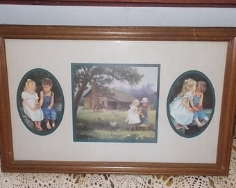 Home Interiors Homco Denim Days  Wood Framed Picture /Not Included in Coupon Sale New Listing :)S
