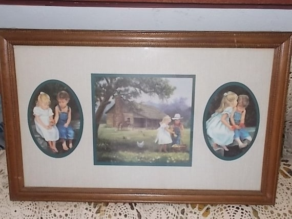 Home Interiors Homco Denim Days Wood Framed Picture