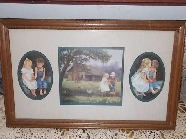 Home Interiors Homco Denim Days Wood Framed Picturechildren