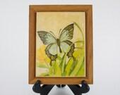 Vintage Framed Butterfly Print On Ceramic Tile