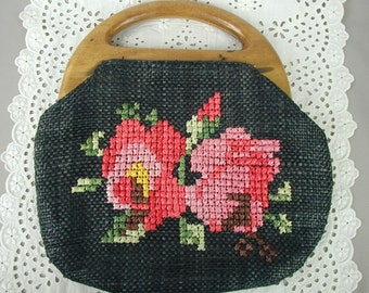 Vintage Woven Straw Purse with Cross Stitched Roses, Wooden Handle, Linen Lining