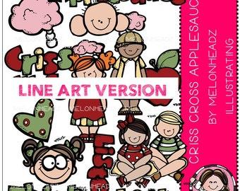 Criss Cross Applesauce clip art - LINE ART