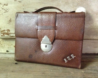 Leather Writing Journal Case, Made in England, Monogrammed JTR, Folio Small Portfolio Case Brown