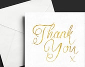 Thank you card gold calligraphy hand lettering script brush greetings card gold foiled square blank typography brush script