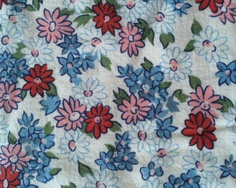 40s Pink Daisy Flower Vintage Fabric Red, White, Blue and Pink Light Weight Floral Cotton Print By the Yard and Cute Bright Fun