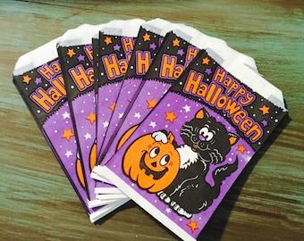 Halloween Treat Bags / 10 Vintage Halloween Black Cat & Jack-o-Lantern Trick or Treat Bags