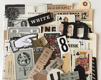 SCRAP PACK / 50pc. Black White Ephemera Paper Pieces / Vintage DIY Kit for Mixed Media Inspiration Kit, Collage, Altered Art