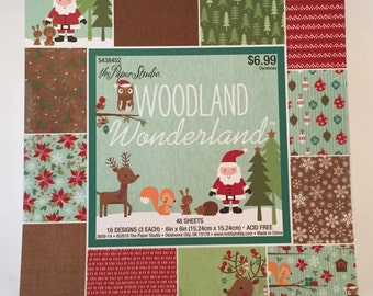 """Christmas Cardstock / 48 Woodland Christmas Scrapbook Paper Sheets / Christmas Card stock Paper 6"""" X 6"""" The Paper Studio 48 Sheets ACID FREE"""