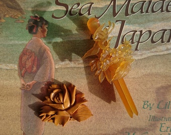 Japanese Obi Clasp and Hairpin, Vintage, Early 20th Century - Celluloid Hairpin, Handcarved Obi Clasp, Bird, Flowers, Both Amber Colored