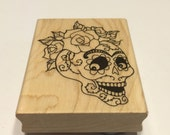 large skull and roses rubber stamp, 75 mm (BB4/3)