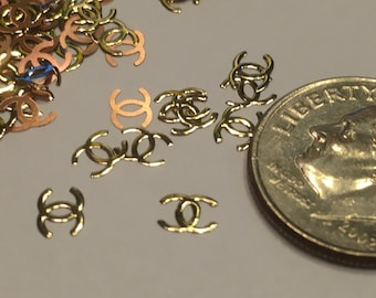 20 pieces of gold metal CC nail decor, 6 mm (S11)