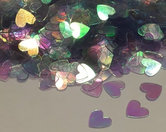 Iridescent heart confetti / sequins, 7 mm (26)+