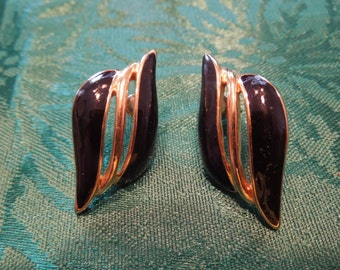 Vintage Trifari Earrings.  Post Style.  Gold Tone with Black Enameling, Signed, Nice Condition