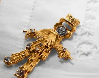 Gold Tone Textured Scarecrow Brooch Pin with Rhinestones