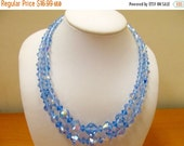 ON SALE Vintage Double Strand Blue Iridescent Crystal Necklace Item K # 2482