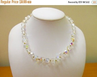 ON SALE Vintage Sparkling Aurora Borealis Crystal Necklace Item K # 1696