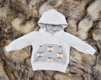 7 oz Infant/Toddler Hoodie with Kangaroo Pocket White and Gray Tribal