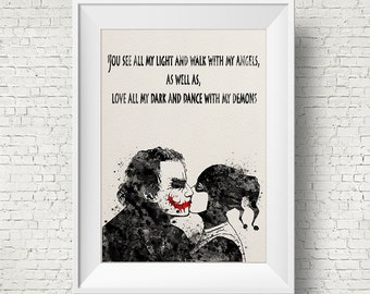 Joker and Harley Quinn Inspired Quote 1 Watercolor Painting Print Fine Art Print Art Super Hero Wall Decor Art Home Decor Wall Hanging