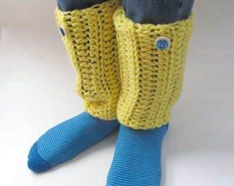 Crocheted Boot Toppers Boot Cuffs Leg Warmers Sunny Yellow