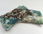 2 Organic Flax or Rice Heating & Cooling Pads (Can Scent for FREE with Essential Oils) Hand-Sized Set of 2 Small Pads - Lavender Eucalyptus