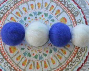 Jingle Ball Wool Cat Toys, White and Dark Blue, Set of 4 Hand Felted Jingly Cat Toys, Felt Balls for Kitties, Free scenting w/ Cat Nip Oil