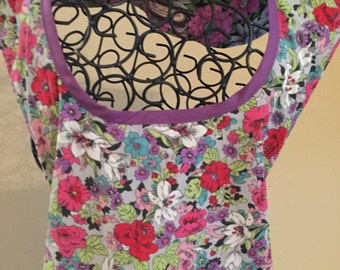 Reversible Purple Womens' Full Apron; Reversible Full Apron; Misses Apron; Plus Size Apron; One Size Fits Most (Ready to Ship)