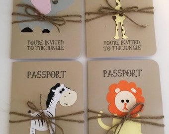 Jungle, Safari, Elephant, Giraffe, Zebra and Lion Animal Passport Birthday Invitation or Shower Announcement