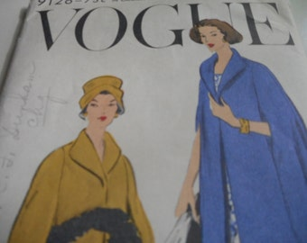 Vintage 1950's Vogue 9126 Cape Sewing Pattern, Size Medium Bust 34-36