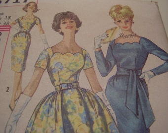 Vintage 1960's Simplicity 3717 Dress Sewing Pattern, Size 18, Bust 38