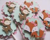 Cupcake Toppers, Set of 12,  Woodland animal cupcake toppers, Deer and Fox  cupcake toppers