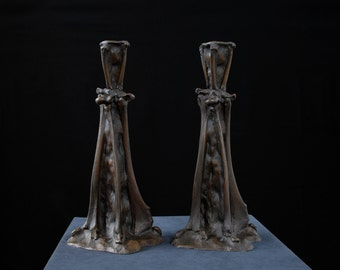 Bones, Candlesticks, Candle, Candleholder, OOAK, Cast Bronze, Bronze Art, Candlesticks, Tableware, Table setting, Home Decor, Halloween