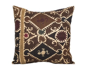 18 x 18 Pillow Cover Suzani Pillow Vintage Suzani Pillow Hand Embroidered Pillow Uzbek Suzani Pillow FAST SHIPMENT with ups or fedex - 07572