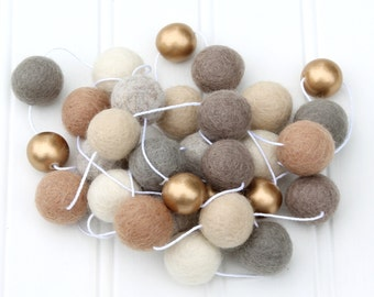 Felt Ball Garland with Metallic Gold, Pom Pom Garland, Gender Neutral, Nursery Decor, Felt Ball Bunting, Kids Room Garland, Gold Beige Gray